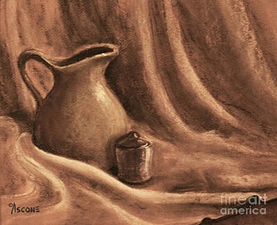Table Cloth Drawing - Pitcher And Lidded Jar by Teresa Ascone