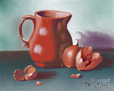 Table Cloth Digital Art - Pitcher And Onion by Dessie Durham