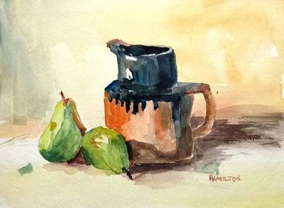 Pitcher And Pears Art Print by Larry Hamilton