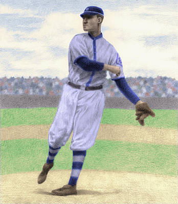 Baseball Parks Drawing - Pitcher by Steve Dininno