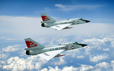 Pitching Darts F-106 2-ship Art Print by Peter Chilelli