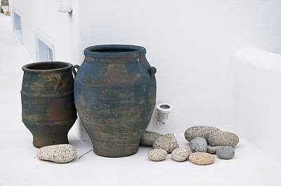 Photograph - Pithoi Jars In A Quiet Corner Of Mykonos Greece by Brenda Kean