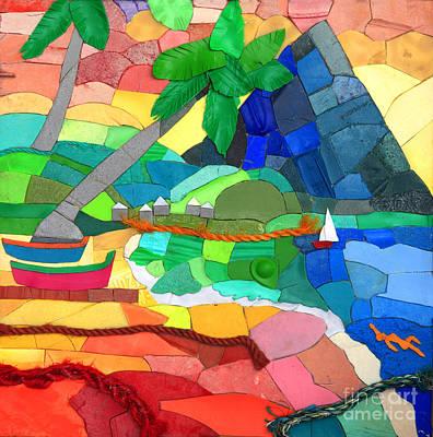 Beach Landscape Mixed Media - Pitons by Nicola Scott-Taylor