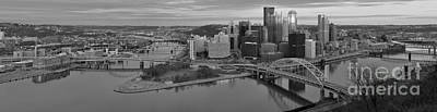 Photograph - Pitsburgh Skyline Black And White Panorama by Adam Jewell