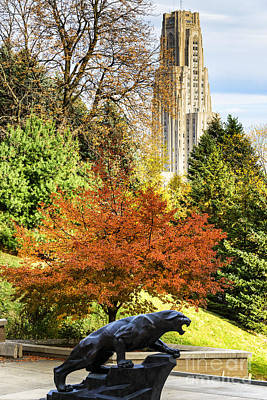 Landmarks Royalty-Free and Rights-Managed Images - Pitt Panther and Cathedral of Learning by Thomas R Fletcher