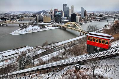 Downtown Pittsburgh Photograph - Pittsburgh Duquesne Incline Winter by Adam Jewell