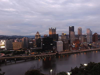 City Photograph - Pittsburgh Aerial Skyline At Dusk by Cityscape Photography
