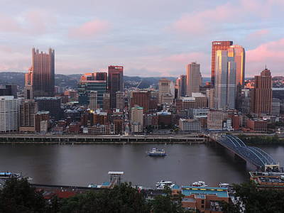 Pittsburgh Skyline Photograph - Pittsburgh Aerial Skyline At Sunset 2 by Cityscape Photography