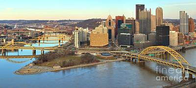 Photograph - Pittsburgh At Dusk - Panorama by Adam Jewell