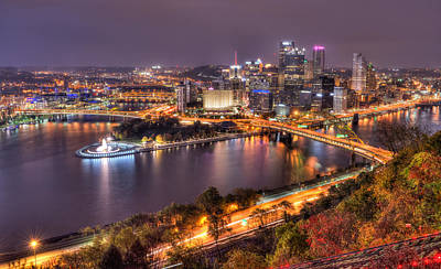 Pittsburgh At Night  Print by Shane Mossman