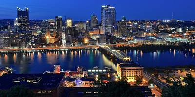 Pittsburgh Blue Hour Panorama Art Print by Frozen in Time Fine Art Photography