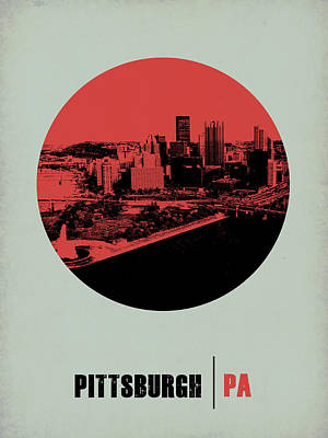 Nostalgic Digital Art - Pittsburgh Circle Poster 2 by Naxart Studio