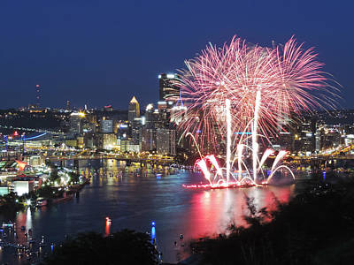 Before Dusk Photograph - Pittsburgh Fireworks by Cityscape Photography