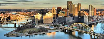 Photograph - Pittsburgh Glowing Reflections by Adam Jewell
