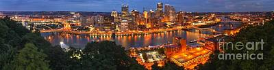 Downtown Pittsburgh Photograph - Pittsburgh Overlook Panorama by Adam Jewell