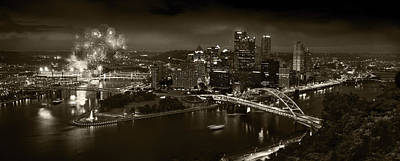 Downtown Pittsburgh Photograph - Pittsburgh P A  B W by Steve Gadomski