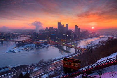 Heinz Field Photograph - Pittsburgh Skyline Winter 2 by Emmanuel Panagiotakis