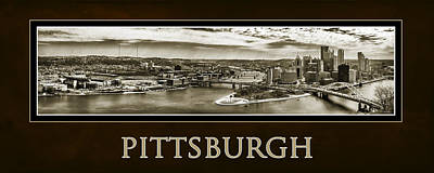 Pittsburgh Panorama Poster In Sepia Art Print by Gary Cain