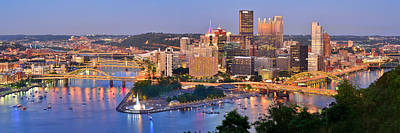 Downtown Pittsburgh Photograph - Pittsburgh Pennsylvania Skyline At Dusk Sunset Panorama by Jon Holiday