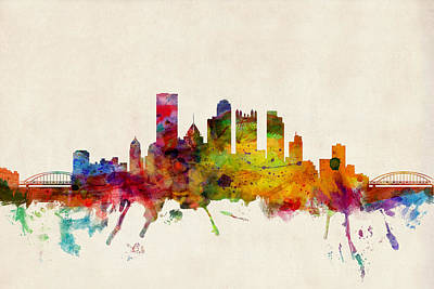Watercolour Wall Art - Digital Art - Pittsburgh Pennsylvania Skyline by Michael Tompsett