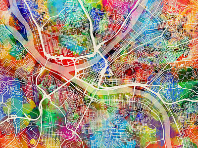 Pittsburgh Pennsylvania Street Map Art Print by Michael Tompsett
