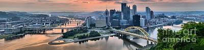 Photograph - Pittsburgh Pink Skies And Fog by Adam Jewell
