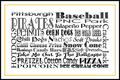 Digital Art - Pittsburgh Pirates Baseball Game Day Food 3 by Andee Design