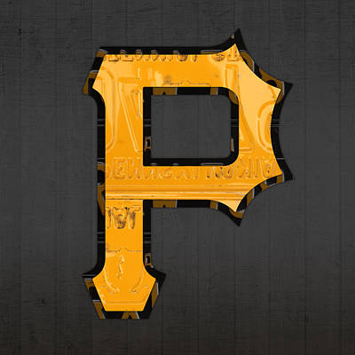 Pirates Mixed Media - Pittsburgh Pirates Baseball Vintage Logo License Plate Art by Design Turnpike