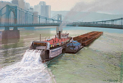 River Wall Art - Painting - Pittsburgh River Boat-1948 by Paul Krapf