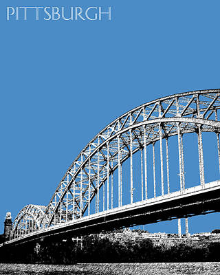 Towers Digital Art - Pittsburgh Skyline 16th St. Bridge - Slate by DB Artist