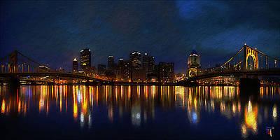 Textured Landscapes Digital Art - Pittsburgh Skyline 2 by  Fli Art