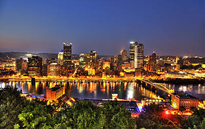 Pittsburgh Skyline At Night Print by Shawn Everhart