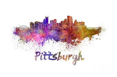 Pittsburgh Painting - Pittsburgh Skyline In Watercolor by Pablo Romero