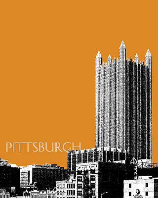 Pittsburgh Skyline Digital Art - Pittsburgh Skyline Ppg Building - Dark Orange by DB Artist