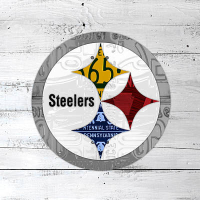 Steelers Mixed Media - Pittsburgh Steelers Football Team Retro Logo Pennsylvania License Plate Art by Design Turnpike