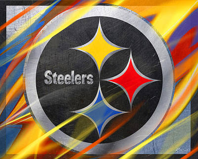 Silver Painting - Pittsburgh Steelers Football by Tony Rubino