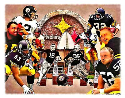 Pittsburgh Steelers Nfl Hall Of Fame Offensive Legends Print by Charles Ott