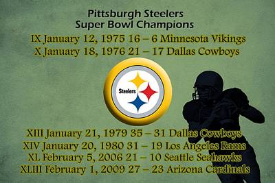 Championship Drawing - Pittsburgh Steelers Super Bowl Wins by Movie Poster Prints