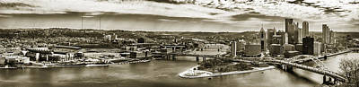Pittsburgh Three Rivers In Sepia Art Print by Gary Cain