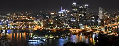 Black Commerce Photograph - Pittsburgh Three Rivers Panorama by Frozen in Time Fine Art Photography