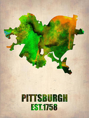 Modern Poster Painting - Pittsburgh Watercolor Map by Naxart Studio