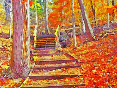 Digital Art - Pittsburgh's Frick Park In October. Orange by Digital Photographic Arts