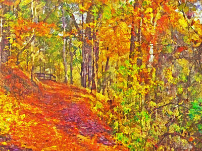 Digital Art - Pittsburgh's Frick Park In October. Yellow And Orange by Digital Photographic Arts