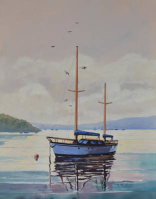 Print featuring the painting Pittwater Calm by Murray McLeod