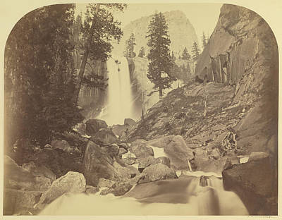 Yosemite National Park Drawing - Piwayac - Vernal Fall - 300 Ft. Yo Semite Carleton Watkins by Litz Collection