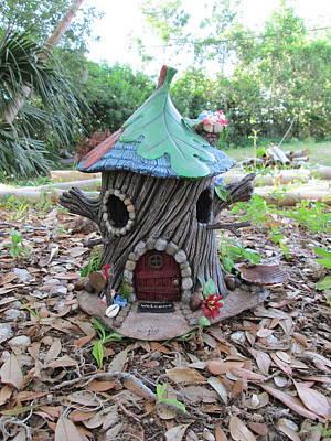 Tinkered Mixed Media - Pixie Oak House Bird Feeder by Bird House Hollows