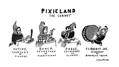 Pixieland The Cabinet Art Print by Michael Crawford