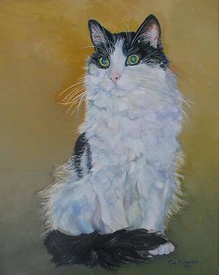 Black And White Cat Painting - Pizer by Kimberly McSparran