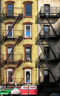 Photograph - Pizza And Fire Escapes by Cornelis Verwaal