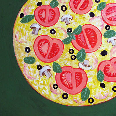 Pizza Painting - Pizza With Tomatoes And Olives by Toni Silber-Delerive